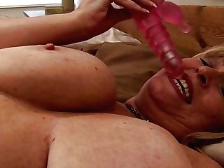 Big Tits Retro Blonde Mummy Fondles Herself And Fucks With Faux-cock