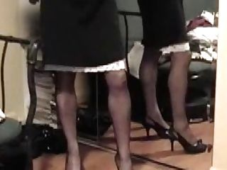 Lifts Micro-skirt To Demonstrate Slip And Stockings